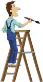 The painter. The house painter on a stepladder stock illustration