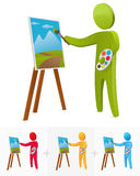 Painter. 3D stick figure painting on canvas Royalty Free Stock Photography