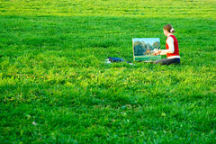 Painter. On a Green Grass Stock Image