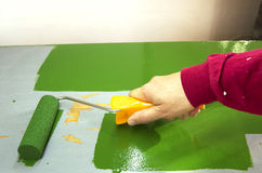 Painter. With paint roller and green shelf Royalty Free Stock Images
