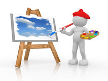 Painter. 3d people - human character - painting the sky on easel . 3d render illustration Royalty Free Stock Photo