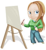 Painter. Girl drawing an idea. clipping path included Royalty Free Stock Photo