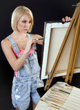 Painter Creates Thick Canvas Painting in Studio Royalty Free Stock Photo