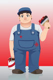 Painter. A vector illustration of a painter holding a can and a brush royalty free illustration
