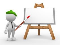 Painter. 3d people - man, person artist painting on a canvas on an easel Stock Photo