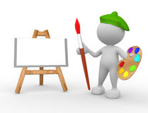 Painter. 3d people - man, person artist painting on a canvas on an easel Royalty Free Stock Images