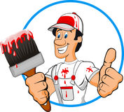 Painter. Cartoon painter man isolated on withe Royalty Free Stock Photo