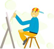 Painter. Painting boy Royalty Free Stock Photography