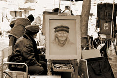 Painter artist in Montmartre quarter Stock Images
