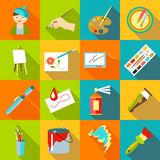 Painter artist tools icons set, flat style Stock Photography