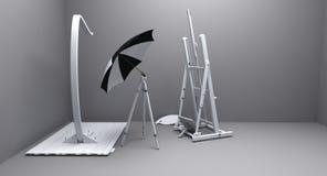 Painter atelier. Render of painters atelier with umbrella Stock Image