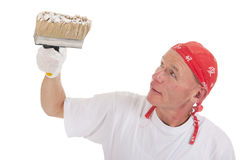 Painter with big brush for ceiling Royalty Free Stock Photo