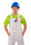 Painter in blue helmet Stock Photo