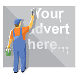 A painter in blue and orange suit with a hat Royalty Free Stock Photography