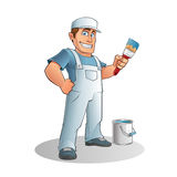 Painter. With brush in hand stock illustration
