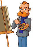 Painter with brush and palette Stock Image