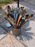 Painter brushes. Brushes and shadows Stock Image