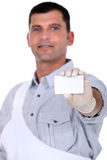 Painter with a business card Stock Photo
