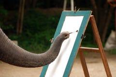 The Painter, Chiangmai,Thailand, August 2007. A Elephant beginning his paintwork near Chiangmai Stock Photos