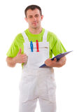 Painter with a clipboard and thumb up Royalty Free Stock Photos