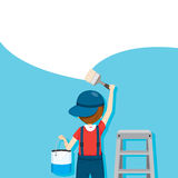 Painter Coloring Wall By Paintbrush, People Occupations Stock Photos
