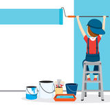Painter Coloring Wall By Paintroller, People Occupations Stock Image