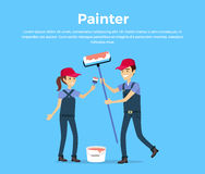 Painter Concept Vector in Flat Style Design. Stock Photography