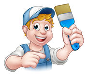 Painter Decorator Handyman Cartoon Character Stock Photos