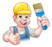 Painter Decorator Holding Paintbrush. A painter decorator handyman cartoon character holding a paintbrush and giving a thumbs up Stock Photos