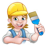 Painter Decorator Woman with Paintbrush Royalty Free Stock Photo