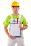 Painter demonstrating clipboard Royalty Free Stock Photography