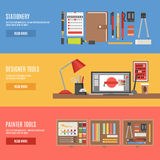 Painter And Designer Tools Banner Set Stock Photo