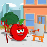 Painter devil apple in the city Stock Photo