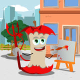 Painter devil apple core in the city Royalty Free Stock Photos