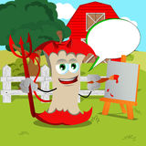 Painter devil apple core on a farm with speech bubble Stock Photo
