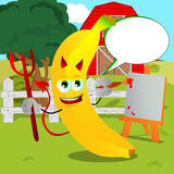Painter devil banana on a farm with speech bubble Stock Photo