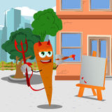 Painter devil carrot in the city Royalty Free Stock Image