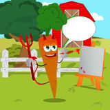 Painter devil carrot on a farm with speech bubble Royalty Free Stock Photo