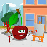 Painter devil cherry in the city Royalty Free Stock Photos