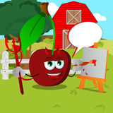 Painter devil cherry on a farm with speech bubble Royalty Free Stock Photo