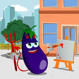 Painter devil  eggplant in the city Royalty Free Stock Photography