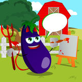 Painter devil eggplant on a farm with speech bubble Stock Photos