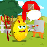 Painter devil lemon on a farm with speech bubble Royalty Free Stock Photos
