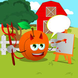 Painter devil peach on a farm with speech bubble Stock Photos