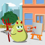 Painter devil pear in the city Royalty Free Stock Image