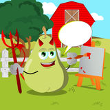 Painter devil pear on a farm with speech bubble Royalty Free Stock Image