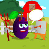 Painter devil plum on a farm with speech bubble Stock Photo