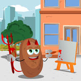 Painter devil potato in the city Royalty Free Stock Photography