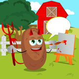 Painter devil potato on a farm with speech bubble Stock Image