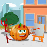 Painter devil pumpkin in the city Royalty Free Stock Photography